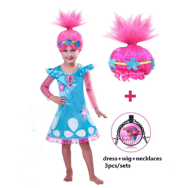 Girls Dresses Trolls Poppy Cosplay Costumes Dress For Girls Bobo Choses Streetwear Halloween Clothes - MBMCITY