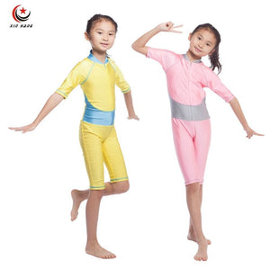 Girls Muslim Swimwears Children Swimsuits One-piece Short Sleeve Modest Islamic Hijab Burkinis For.