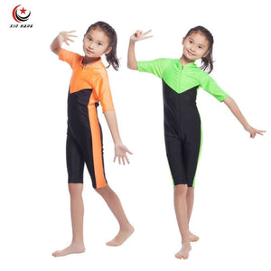 Girls Muslim Swimwears Islamic Children One-piece Short Sleeve Swimsuits Arab Islam Beach Wear - MBMCITY