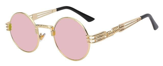 Gothic Steampunk Sunglasses Men Women Metal Wrapeyeglasses Round Shades Brand Designer Sun Glasses Gold W Pink Mirror