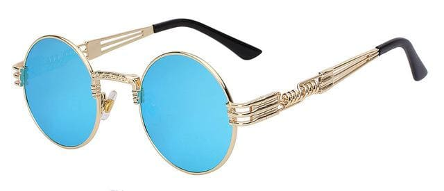 Gothic Steampunk Sunglasses Men Women Metal Wrapeyeglasses Round Shades Brand Designer Sun Glasses Gold W Blue Mirror
