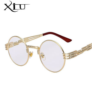 Gothic Steampunk Sunglasses Men Women Metal WrapEyeglasses Round Shades Brand Designer Sun glasses.