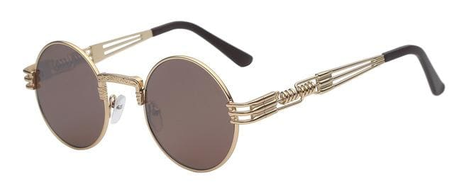 Gothic Steampunk Sunglasses Men Women Metal Wrapeyeglasses Round Shades Brand Designer Sun Glasses Gold W Brown