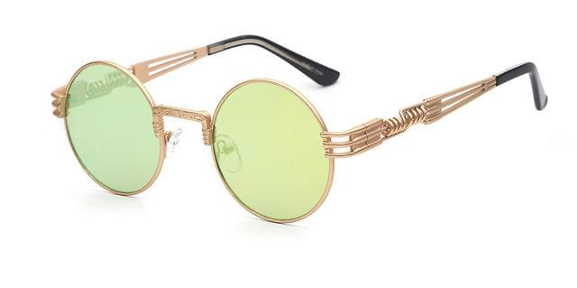 Gothic Steampunk Sunglasses Men Women Metal Wrapeyeglasses Round Shades Brand Designer Sun Glasses Gold W Lemon Mirror