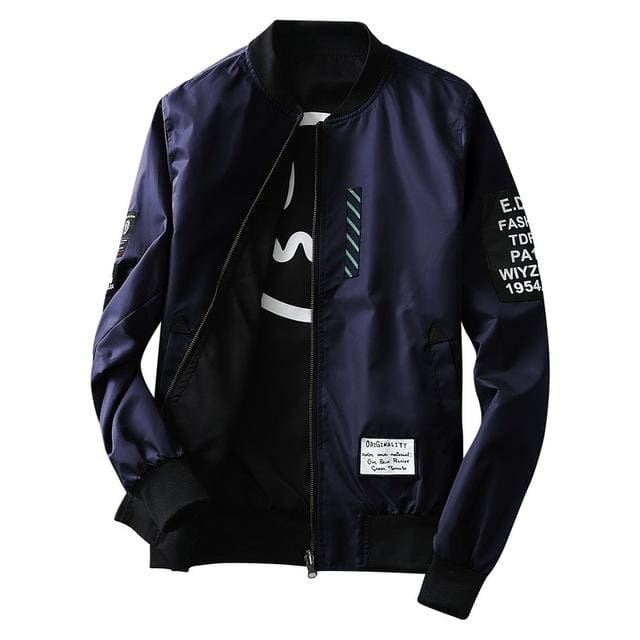 Grandwish Bomber Jacket Men Pilot with Patches Green Both Side Wear Thin Pilot Bomber Jacket Men Navy / M