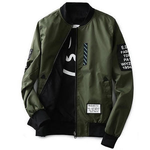 Grandwish Bomber Jacket Men Pilot With Patches Green Both Side Wear Thin Pilot Bomber Jacket Men Army Green / M