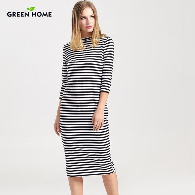 Green Home Winter Breastfeeding Nursing Dress Full Sleeve Striped Thick Maternity Dress For Pregnant Black / L