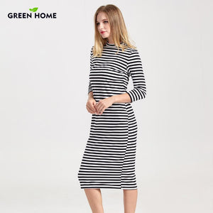 Green Home Winter Breastfeeding Nursing Dress Full Sleeve Striped Thick Maternity Dress For Pregnant