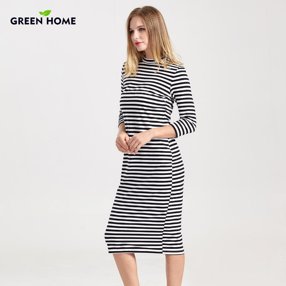 Green Home Winter Breastfeeding Nursing Dress Full Sleeve Striped Thick Maternity Dress For Pregnant - MBMCITY