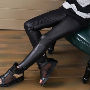 Grils Leggings Faux Leather High Quality Slim Children Leggings Baby Kids High Elasticity Skinny