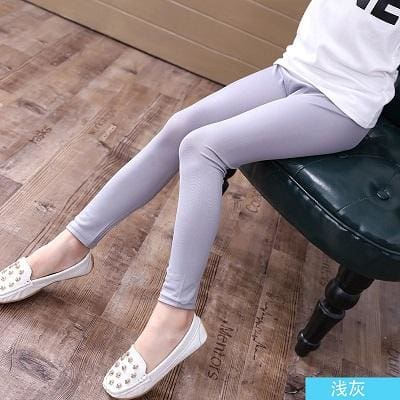 Grils Leggings Faux Leather High Quality Slim Children Leggings Baby Kids High Elasticity Skinny Gray / 4T