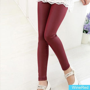 Grils Leggings Faux Leather High Quality Slim Children Leggings Baby Kids High Elasticity Skinny Winered / 4T