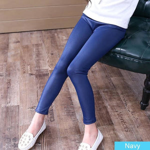 Grils Leggings Faux Leather High Quality Slim Children Leggings Baby Kids High Elasticity Skinny Navyblue / 4T