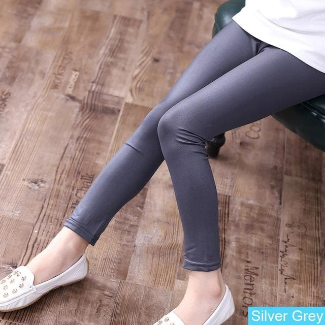 Grils Leggings Faux Leather High Quality Slim Children Leggings Baby Kids High Elasticity Skinny Silvergrey / 4T