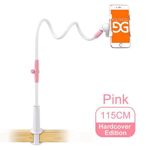 Gusgu Universal Stents Flexible Holder Lazy Mobile Phone Stand Long Arm Bed/desktop Clip Bracket 115Cm Hardcover Pink