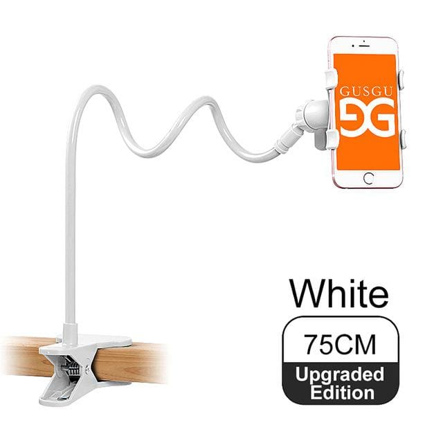 Gusgu Universal Stents Flexible Holder Lazy Mobile Phone Stand Long Arm Bed/desktop Clip Bracket 75Cm Upgraded White