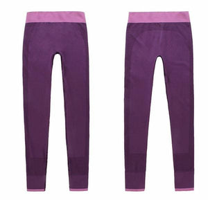 Gym Women Yoga Clothing Sports Pants Legging Tights Workout Sport Fitness Exercise And Clothes Purple / L