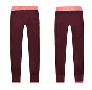 Gym Women Yoga Clothing Sports Pants Legging Tights Workout Sport Fitness Exercise And Clothes Deep Red / L