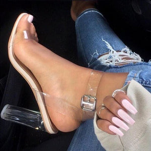 Haiyueli Summer Women Sandal Pvc Block High Heel Crystal Clear Transparent Sandals Concise Buckle