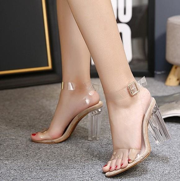 HAIYUELI Summer Women Sandal PVC Block High Heel Crystal Clear Transparent Sandals Concise Buckle - MBMCITY