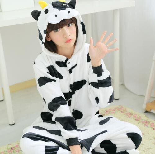 Halloween Women Unicorn Pajamas Sets Women Flannel Animal Pajamas Kits For Kingurumi Sleepwear Cow Black White / S
