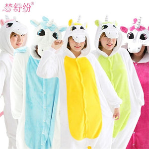 Halloween Women Unicorn Pajamas Sets Women Flannel Animal Pajamas Kits For Kingurumi Sleepwear