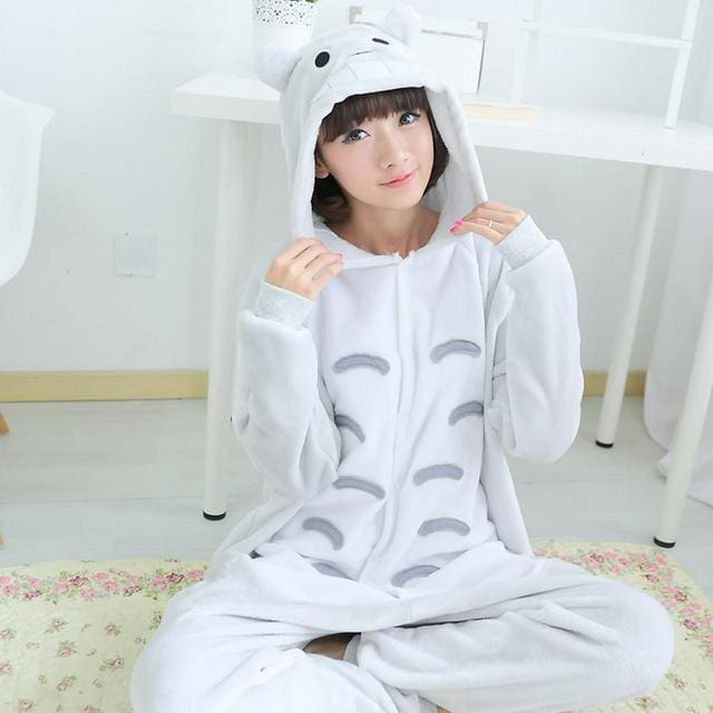 Halloween Women Unicorn Pajamas Sets Women Flannel Animal Pajamas Kits For Kingurumi Sleepwear Totoro Grey / S