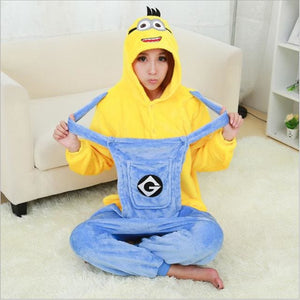 Halloween Women Unicorn Pajamas Sets Women Flannel Animal Pajamas Kits For Kingurumi Sleepwear Minion Yellow Blue / S