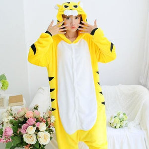 Halloween Women Unicorn Pajamas Sets Women Flannel Animal Pajamas Kits For Kingurumi Sleepwear Tiger Yellow Black / S