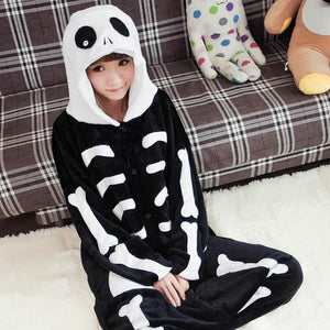 Halloween Women Unicorn Pajamas Sets Women Flannel Animal Pajamas Kits For Kingurumi Sleepwear Skull Black White / S