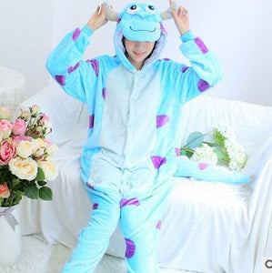 Halloween Women Unicorn Pajamas Sets Women Flannel Animal Pajamas Kits For Kingurumi Sleepwear Sullivan Blue / S