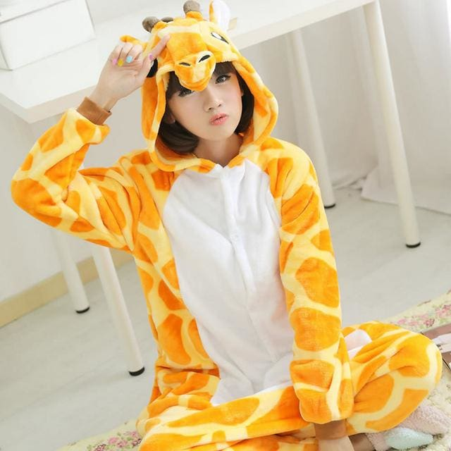 Halloween Women Unicorn Pajamas Sets Women Flannel Animal Pajamas Kits For Kingurumi Sleepwear Giraffe Orange / S