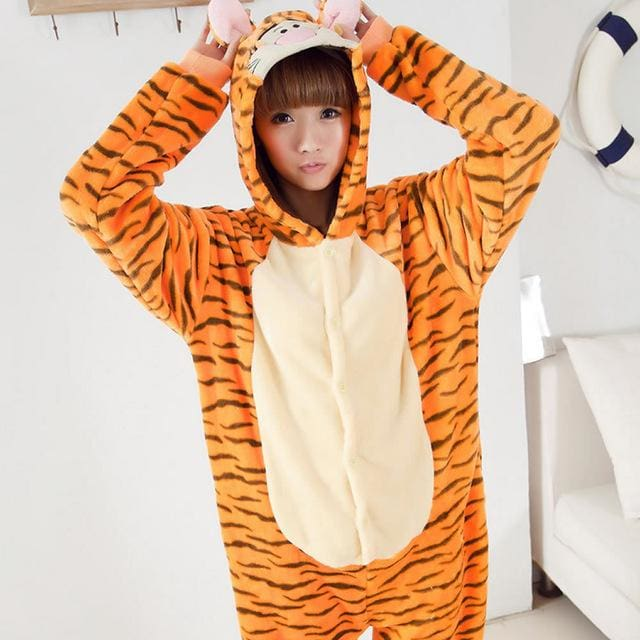 Halloween Women Unicorn Pajamas Sets Women Flannel Animal Pajamas Kits For Kingurumi Sleepwear Tigger Orange / S