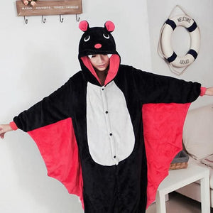 Halloween Women Unicorn Pajamas Sets Women Flannel Animal Pajamas Kits For Kingurumi Sleepwear Bat Black Red / S