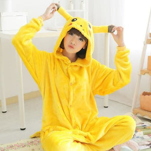 Halloween Women Unicorn Pajamas Sets Women Flannel Animal Pajamas Kits For Kingurumi Sleepwear Pikachu Yellow / S