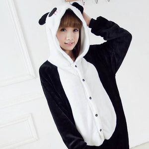 Halloween Women Unicorn Pajamas Sets Women Flannel Animal Pajamas Kits For Kingurumi Sleepwear Panda Black White / S