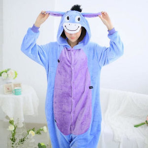 Halloween Women Unicorn Pajamas Sets Women Flannel Animal Pajamas Kits For Kingurumi Sleepwear Eeyore Purple Violet / S