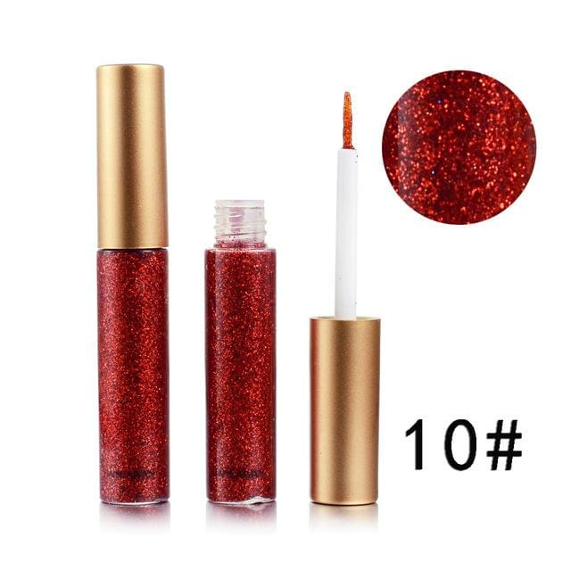 Handaiyan Shine Glitter Eye Shadow & Liner Liquid Long-Lasting Shimmery Eye Makeup Quickly Dry Shiny 10