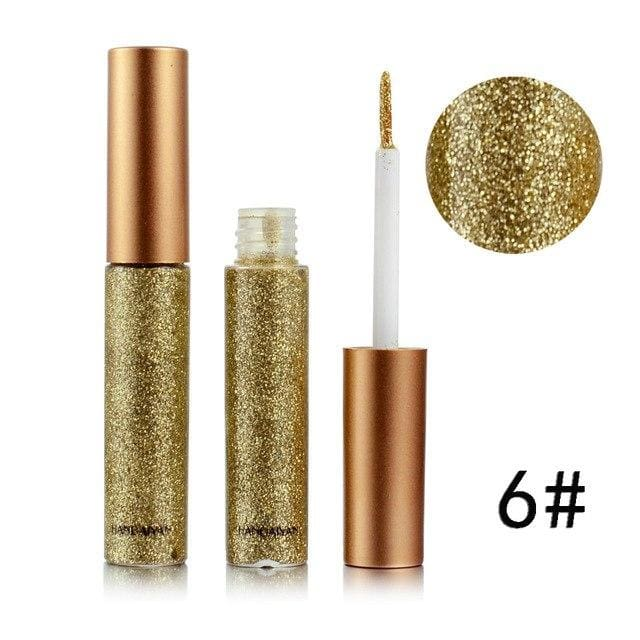 Handaiyan Shine Glitter Eye Shadow & Liner Liquid Long-Lasting Shimmery Eye Makeup Quickly Dry Shiny 6