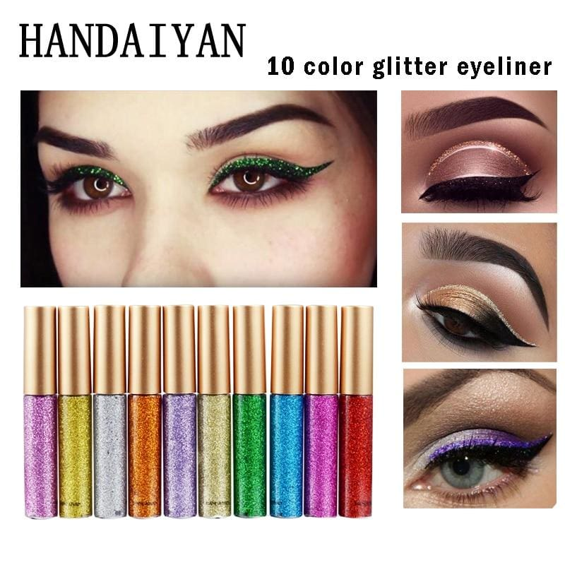 Handaiyan Shine Glitter Eye Shadow & Liner Liquid Long-Lasting Shimmery Eye Makeup Quickly Dry Shiny