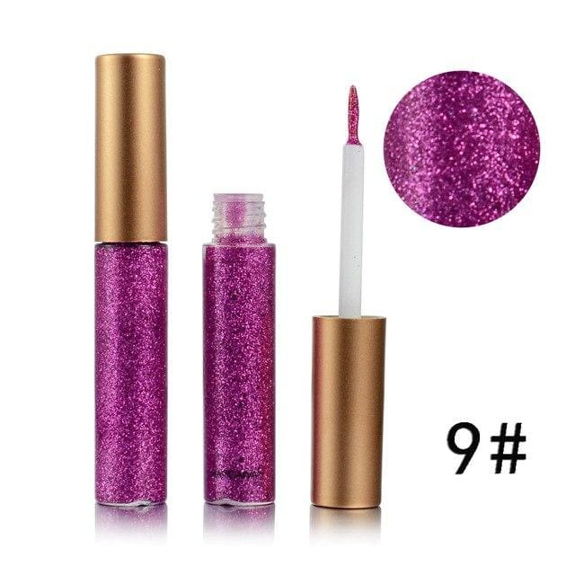 Handaiyan Shine Glitter Eye Shadow & Liner Liquid Long-Lasting Shimmery Eye Makeup Quickly Dry Shiny 9