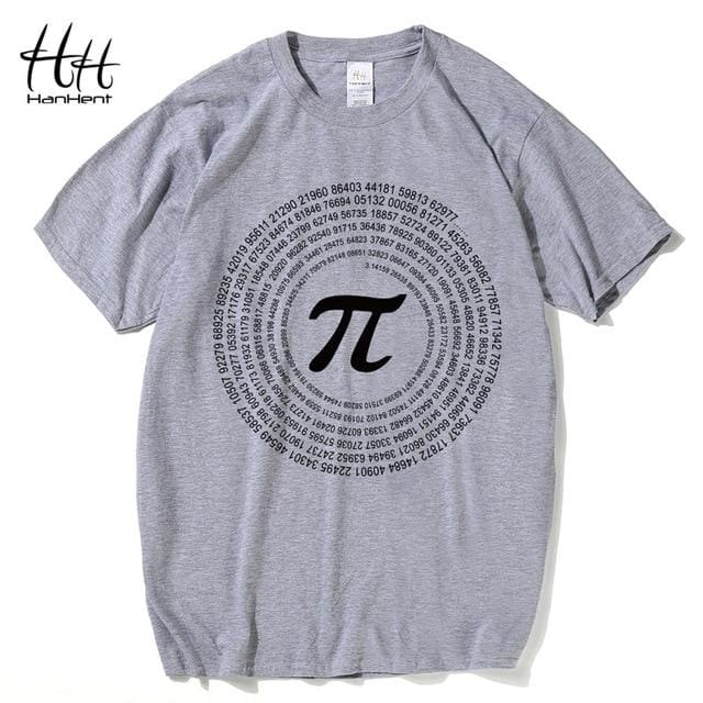 Hanhent Novelty Pi Math Tshirts Mens Cotton Loose Short Sleeve Tee Shirts Geek Style T Shirt Nerd Gray / Us Size S