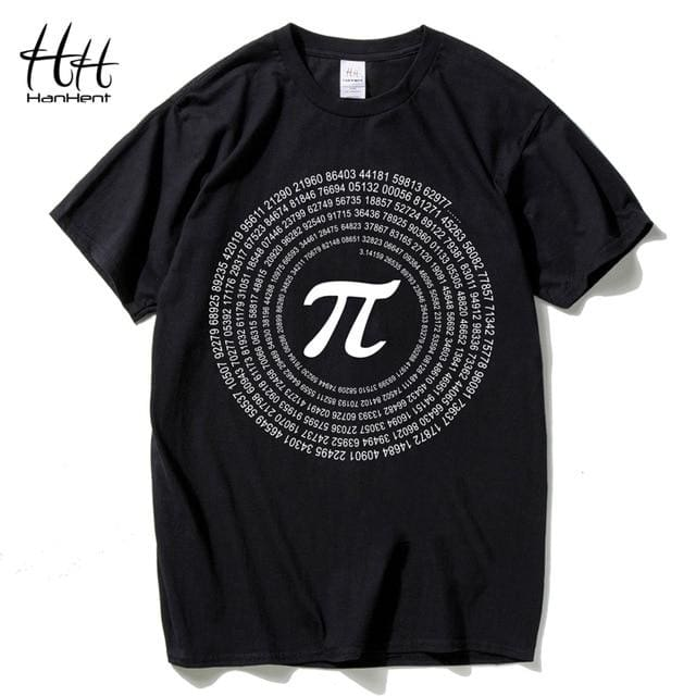 Hanhent Novelty Pi Math Tshirts Mens Cotton Loose Short Sleeve Tee Shirts Geek Style T Shirt Nerd Black / Us Size S