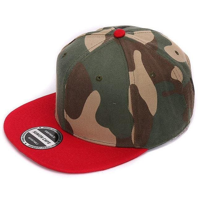 HATLANDER Camouflage snapback polyester cap blank flat camo baseball cap with no embroidery mens cap Red camo
