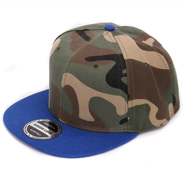 HATLANDER Camouflage snapback polyester cap blank flat camo baseball cap with no embroidery mens cap Blue camo