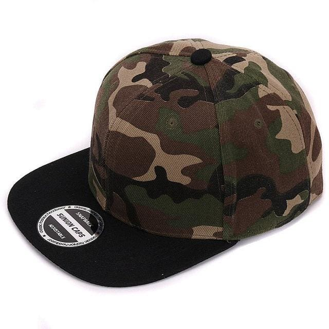 HATLANDER Camouflage snapback polyester cap blank flat camo baseball cap with no embroidery mens cap Black camo