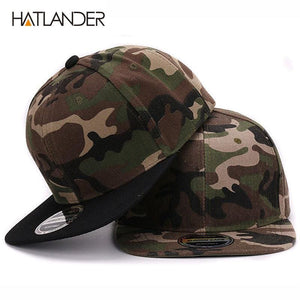 HATLANDER Camouflage snapback polyester cap blank flat camo baseball cap with no embroidery mens cap