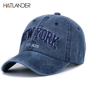 [HATLANDER]Sand washed 100% cotton baseball cap hat for women men vintage dad hat NEW YORK navy as picture