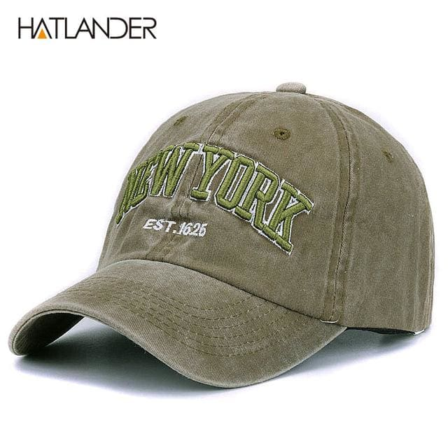 [HATLANDER]Sand washed 100% cotton baseball cap hat for women men vintage dad hat NEW YORK army green as pic