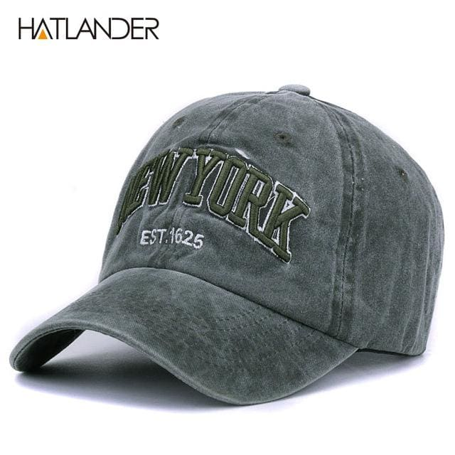 [HATLANDER]Sand washed 100% cotton baseball cap hat for women men vintage dad hat NEW YORK dark green as pic